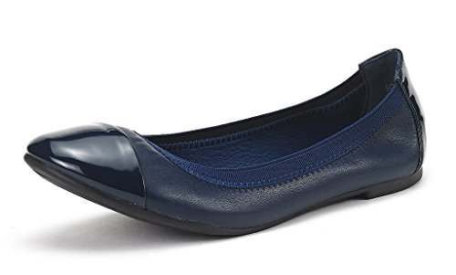 DREAM PAIR SOLE-FLEX New Women's Flexible Elasticized Topline Comfortable Ballerina Flats Shoes Navy Size 9.5