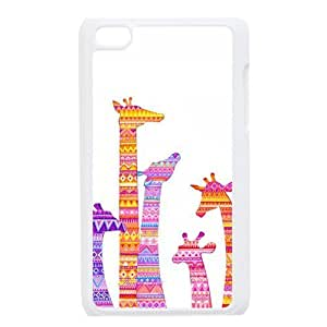 Colorful Aztec Tribal Giraffe Protective Hard PC Back Fits Cover Case for iPod Touch 4, 4G (4th Generation)