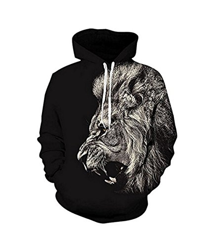 Unisex Realistic 3d Print Galaxy Pullover Hoodie Hooded Sweatshirt (Large/X-Large, Angry Lion)