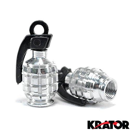 Krator Pair of Chrome Motorcycle Tire Wheel Valve Stem Caps Grenade Fits Metric Cruisers, Sport Bikes, Choppers, Harley