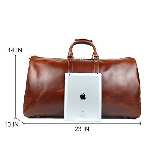14e8e9e24ea BAIGIO Mens Genuine Leather Weekend Overnight Bag - Leather Duffle Bag