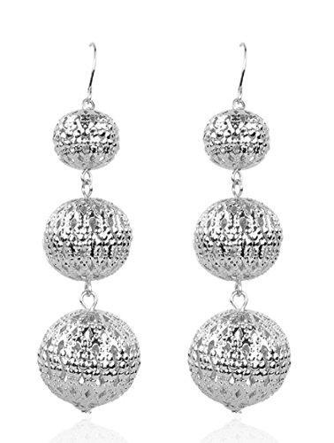 - CCOHO Fashion Long Tassel Beaded Earrings Silver Dangle Ball Drop Earring for Women, Girls