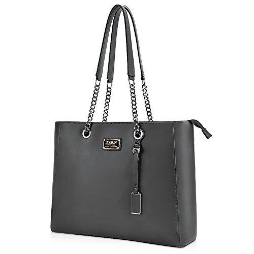 Laptop Tote,15.6 in Top Zip Large Laptop Bag PU Leather Multi-Function Shoulder Bag Sturdy Lengthen Chain-Link Straps Women (Bag Black Shoulder Leather Chain Link)