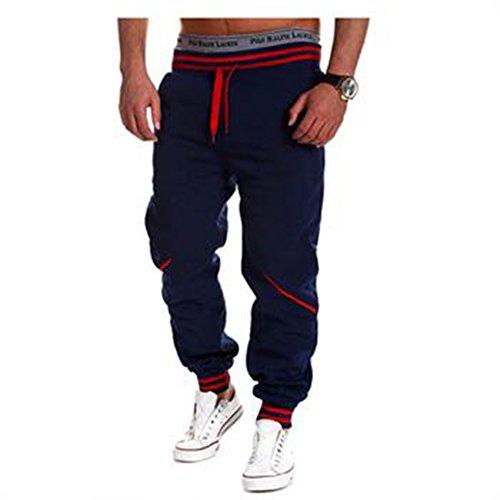 Evelin LEE Men's Harem Casual Baggy Jogger boy Sport Cotton blend Sweat gym Pants Trousers (US(S), Navy Blue) Cotton Blend Gym Pant