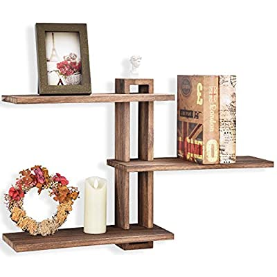 Emfogo Floating Shelves Wall Mounted Rustic Wall Wood Shelves 3 Tier for Decor and Storage at Bedroom Living Room Office - DISPLAY IN THE STYLE YOU WANT — Thanks to the flexible design of buckle structure, this wood shelves could be installed into the creative way you like, and choose your favorite way to display the shelves and match your décor. RUSTIC FLOATING SHELVES — Made of solid paulownia wood, process with torch which features a carbonized black finish and clear texture, a grear rustic addition to any wall. VERSATILE WALL SHELVES — Measure with 15.6 x 5.9 inch for each wood board and 0.6 inch in thickness, which offer enough space for display books, picture frames, plant, collectible, knick-knack at bedroom living room and so on, also as a storage shelves at bathroom for cosmetics and kitchen for spice, jar. - wall-shelves, living-room-furniture, living-room - 413ZMf7Rp8L. SS400  -