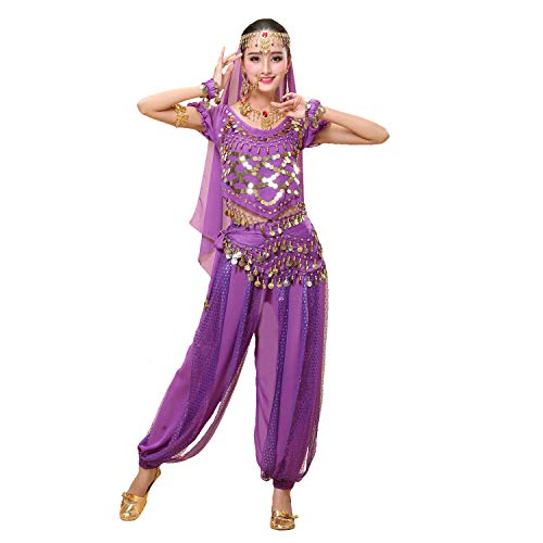 Maylong Womens Short Sleeve Belly Dancing Outfit Halloween Costume DW79 (Purple)]()