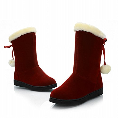 Women's Fashion Pom Poms Platform Mid Calf Boots Snow Boots