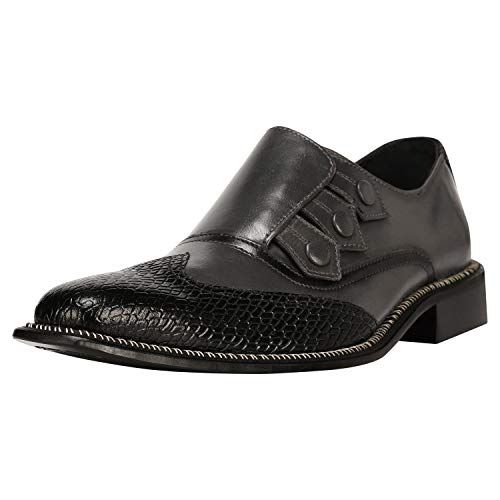 (Liberty Men's Genuine Leather Triple Monk Strap Loafers Wing Tip Dress Shoes)