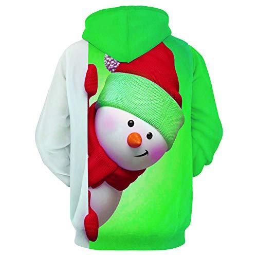 Verde Felpe Natale Maniche Cappuccio Ragazzo Cappotto Sportivo Lunghe Da Pullover 3d Uomo Con Invernale Stampata Koly Felpa A TSfxTCBw