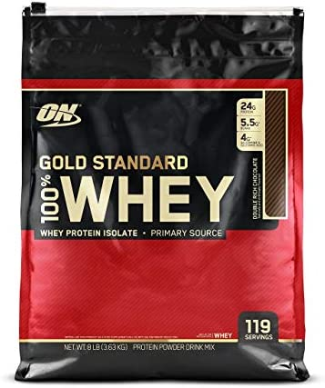 OPTIMUM NUTRITION Gold Standard 100 Whey Protein Powder, Double Rich Chocolate, 8 Pound