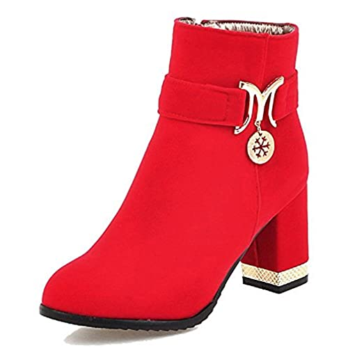 Women's High-Heels Pointed Closed Toe PU Low-Top Solid Zipper Boots Red-Wedge 38