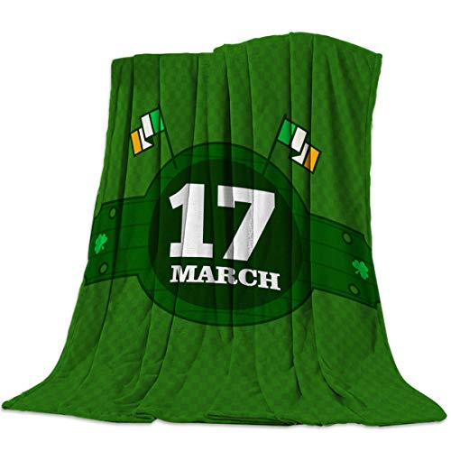 """Singingin 17 March Barrel Pattern Ireland Flag Flannel Throw Blanket Super Soft Warm Snuggle Stadium Blanket for Couch Chair Sofa and Bed Everyday Use 60"""" x 80"""""""