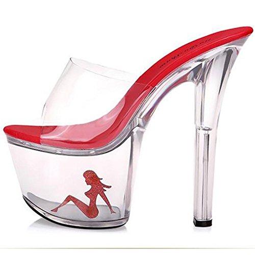 Rosso Alti Trasparente Pattini Talloni Inferiore Vibrazione Cristallo Sandali Piattaforma Spessa Donne Delle Impermeabile Di Caduta SqUw6a