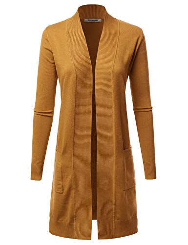 Solid Long Sleeve Cardigan - FASHIONOMIC Women's Solid Soft Stretch Long-Line Long Sleeve Open Front Cardigan (CLLC002) Mustard S