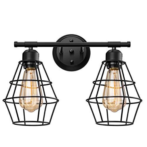 Elibbren Vintage 2-Lights Vanity Wall Sconce Lighting, Farmhouse Rustic Style E26 Base Metal Matte Black Industrial…
