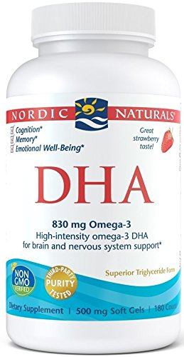 (Nordic Naturals DHA Omega-3 - Brain and Nervous System Support Supplement, Strawberry Flavored, 180 Soft Gels)