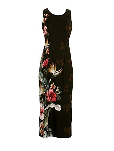Hilo Hattie Hibiscus Paradise Long Tank Dress Hawaiian Shirt Black