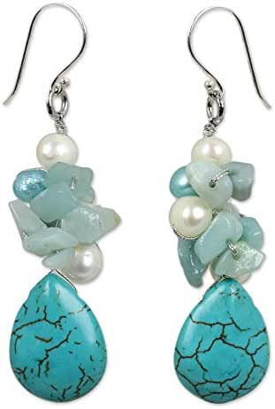 NOVICA Amazonite Cultured Freshwater Pearl .925 Sterling Silver Resin Beaded Earrings 'Bluebells'