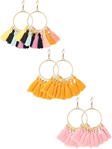 Gejoy Tassel Hoop Earrings Fan-shaped Drop Earrings Dangle Eardrop for Women Girls Party Bohemia Dress Accessory, 3 Pairs (multicolor, ginger, pink)