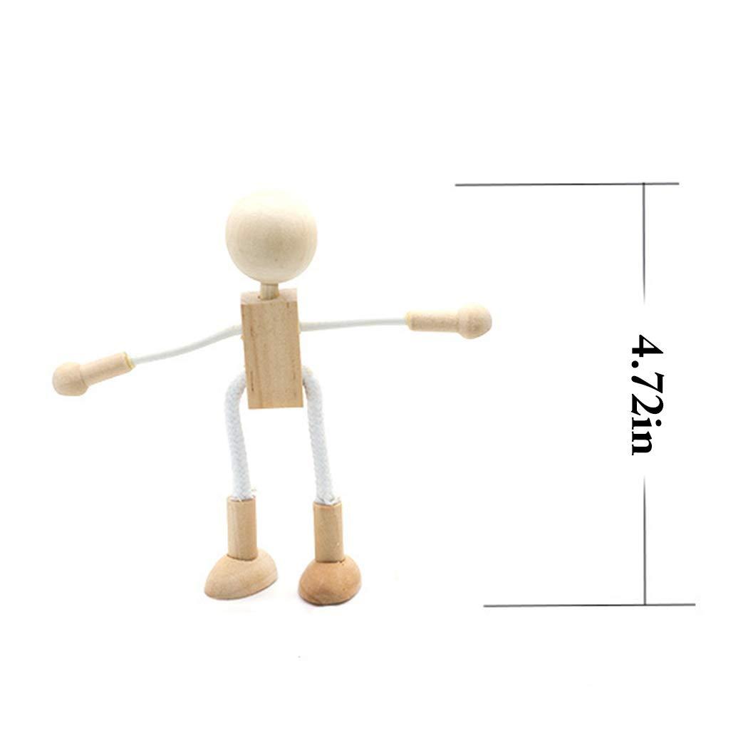 Joyibay 6PCS Ni/ños Figuras De Madera DIY Pintura Flexible Mu/ñEcas Artesanales Jugar Juguete Educativo