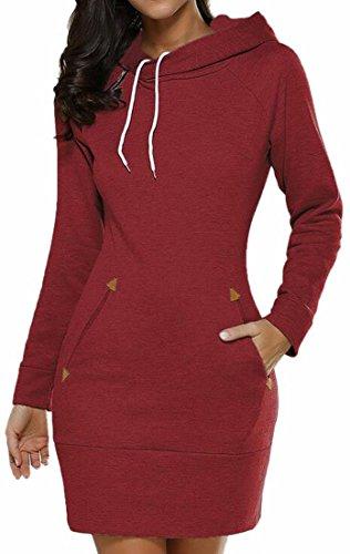 Capuche Manches Longues Jaycargogo Automne Pour Femmes Sweat-shirts Mini Robe Rouge Vin