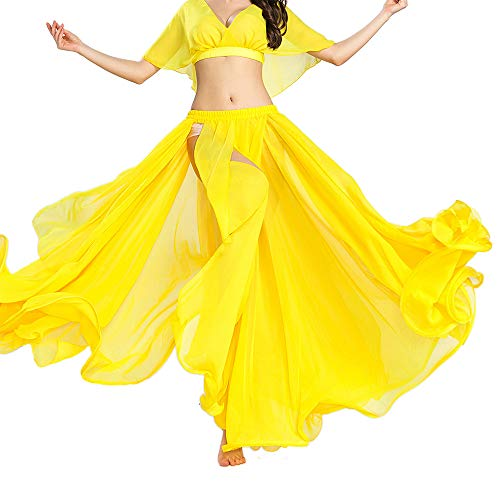 (ROYAL SMEELA Belly Dance Costume for Women Chiffon Fairy Belly Dance Skirt Yellow, Tribal Belly Dancing Skirts High Split, One Size, 11 Colors)