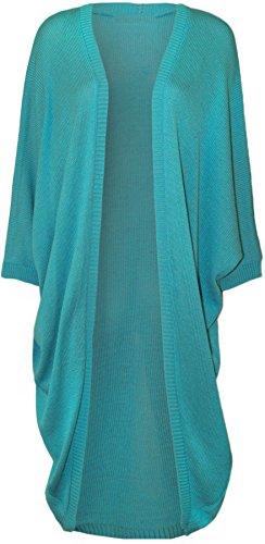 Kimono souris longue Cardigan 44 54 Femmes chauve Taille Plus Turquoise cascade Plus Haut Xclusive manches FUE8pnq