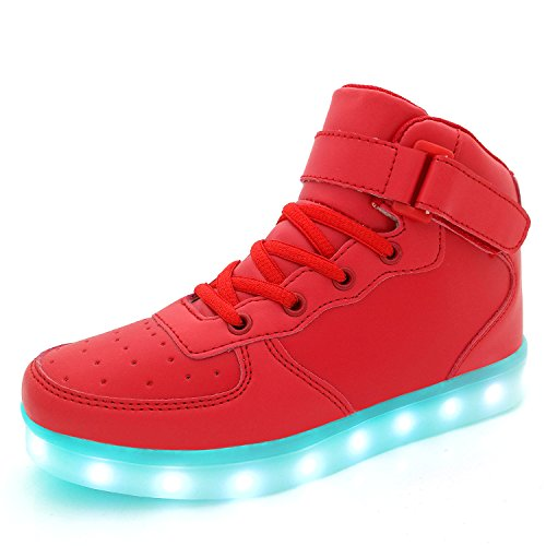 Kids Youth LED Light Up Sneakers Boys Girls High Tops Cute Cool Flashing Shoes Halloween Xmas School Party Dancing Shoes, Red, 12.5 M US Little Kid]()