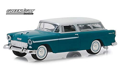 - 1955 Chevy Nomad, Regal Turquoise India Ivory - Greenlight 29950/48 - 1/64 Scale Diecast Model Toy Car