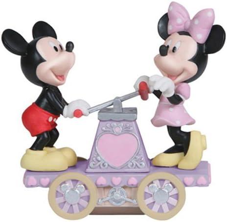 Precious Moments Porcelain Disney Mickey and Minnie Hand Car Figurine, 5-Inch
