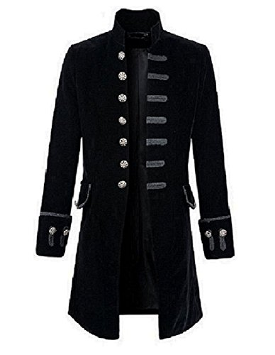 Darkrock Mens Velvet Goth Steampunk Victorian Frock Coat (Medium, Black)