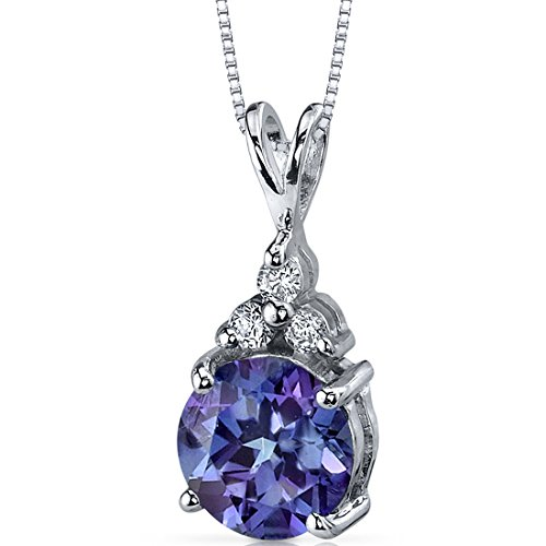 (Simulated Alexandrite Pendant Sterling Silver Rhodium Nickel Finish 3 CZ Accent)