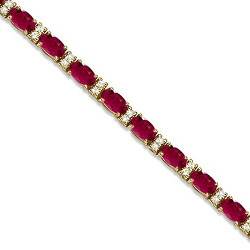 Diamond and Oval Cut Ruby Tennis Bracelet 14k Yellow Gold (9.25ctw) (14k Bracelet Ruby Gold Yellow)