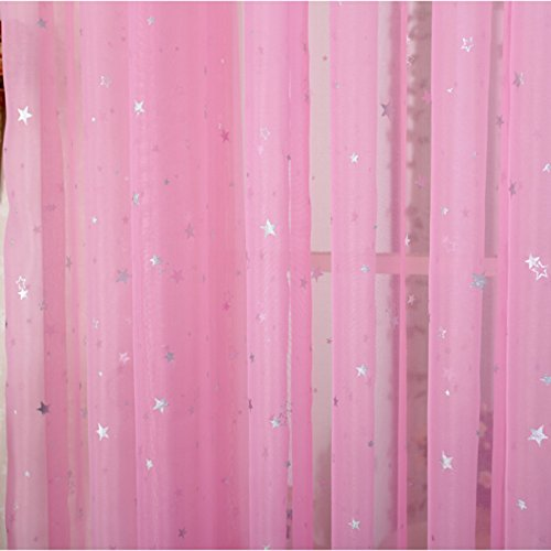 Kids Room Window Curtain Decoration Rod Pocket Process Multiple Sizes Star Voile Curtain/Drape(1 Panel)]()