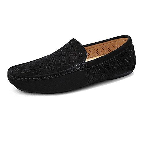Genuino Caqui Mocassins Penny shoes Boat Minimalism Hombres Xiazhi Mocasines de tamaño los Negro Conducción Color Perforación Upper Transpirable EU 44 Cuero 6PxqX61a