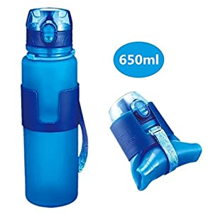 Live Direct Collapsible Silicone Leak Proof Sports Water Bottle Bag Clip Foldable Camping 650ml Canteen Folding Hydration Cup BPA Free for Cycling, Hiking, Travelling, Fitness and Outdoor Activities