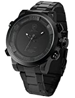 Shark Men's Quartz Watch SH364 Analog LED Alarm Date Day Display Black Steel Band