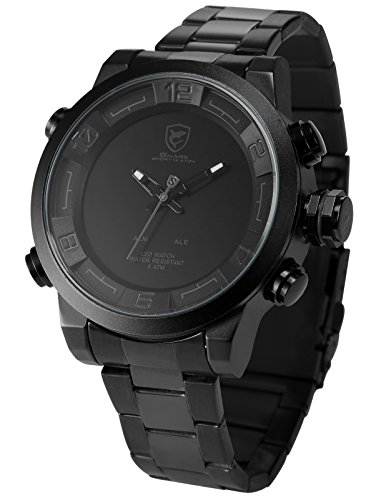 Shark Men's Quartz Watch SH364 Analog LED Alarm Date Day Display Black Steel (Day Date Series)