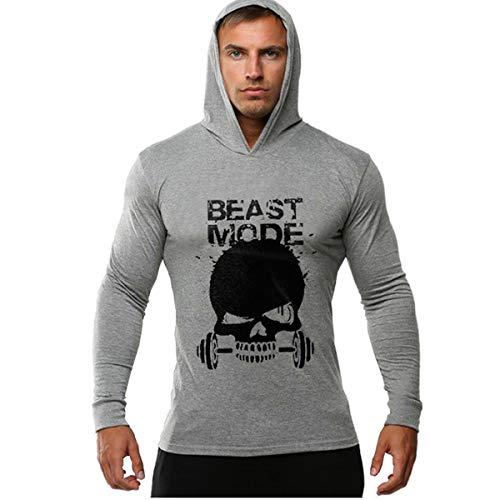 Cabeen Bodybuilding Grigio Lunga Hoodies Uomo Sport Con Cappuccio Manica Felpe Palestra Da UzpSqMV