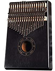 Kalimba 17 مفتاحًا من خشب الماهوجني الصلب مع تعليمات الدراسة ومطرقة تلون، بيانو Mbira Sanza للأصابع الخشبية الأفريقية (أسود)