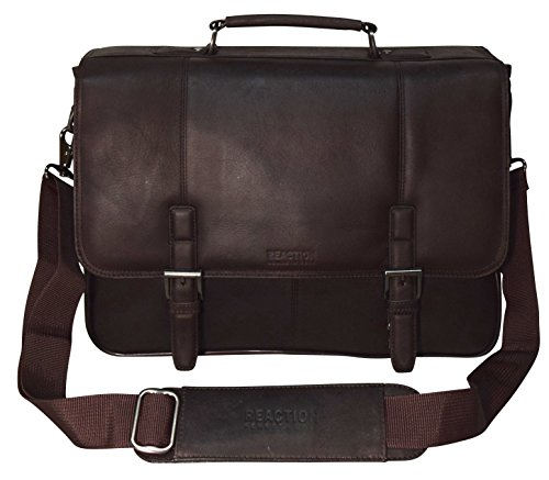 "Kenneth Cole Collection ""A Brief History"" Leather Flapover Portafolio/ Business Briefcase Bag (Brown)"