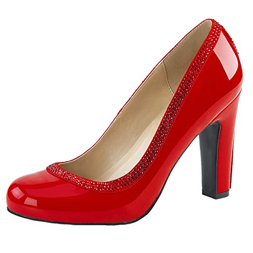 Heels-Perfect Strass Pumps, Damen, Rot (Rot) Rot (Rot)