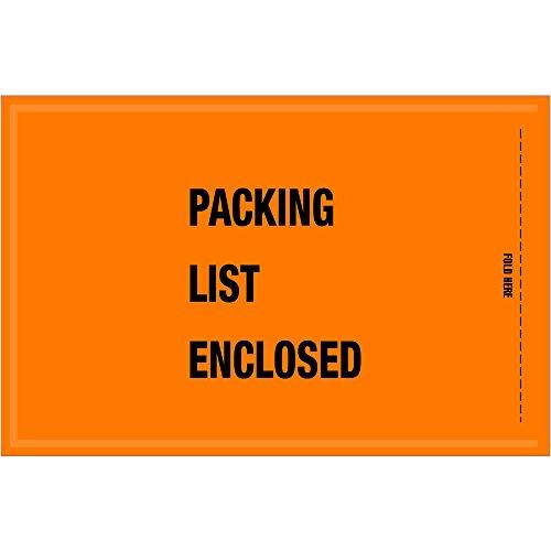 Ship Now Supply SNGSA20EL MIL-SPECPacking List Enclosed Envelopes 5 1/4 x 8 Width 5.25 Length Orange (Pack of 1000)