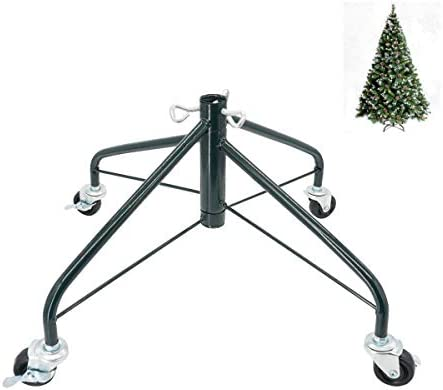 ELFJOY Christmas Tree StandSwivel Caster Wheels for 3-7ft. Artificial Tree Base 17inch Christmas Tree Iron Stand 7/8inch Inner Diameter Movable Tree Base Green Tree Stand (Green)