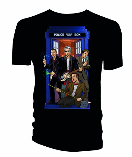 Doctor Who Classic Mens T-Shirt 4 Doctors Band Black XXXXL