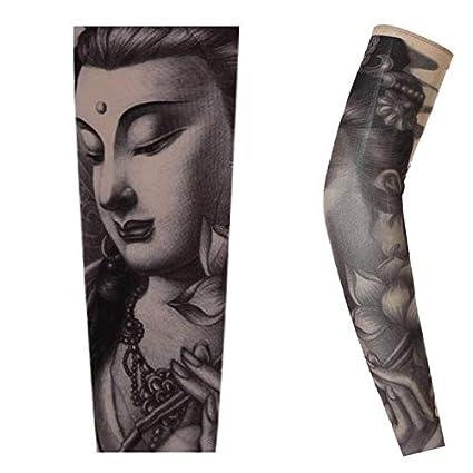 Ciclismo deportes tatuaje brazo calentadores mangas UV Cool brazo ...