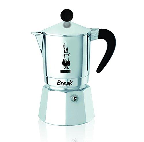 Bialetti Break – Cafetera expreso de 1 Taza,Negra, de Aluminio, Gris, 11x 7x 14cm