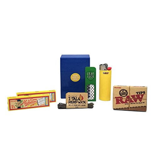 Club Modiano Rolling Papers Bistro (2 Packs), RAW Pre Rolled Tips, I-Tal Hemp Wick (3.5 Feet), BIC Lighter, Flip Top Cigarette Case, and Leaf Lock Gear Grinder Card - 7 Items - Bundle