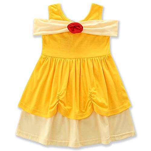 HenzWorld Belle Costume Dress Girls Princess Birthday Party Off Shoulder Flower Playwear Outfit 4t