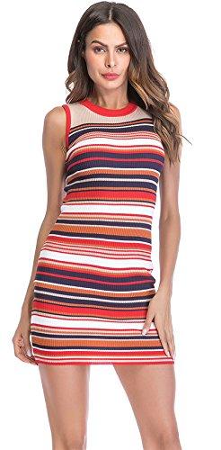 Arctic Cubic Sleeveless Rainbow Ribbed Rib Knit Striped Stripe Sweater Mini Bodycon Tank Vest Dress Colorful M